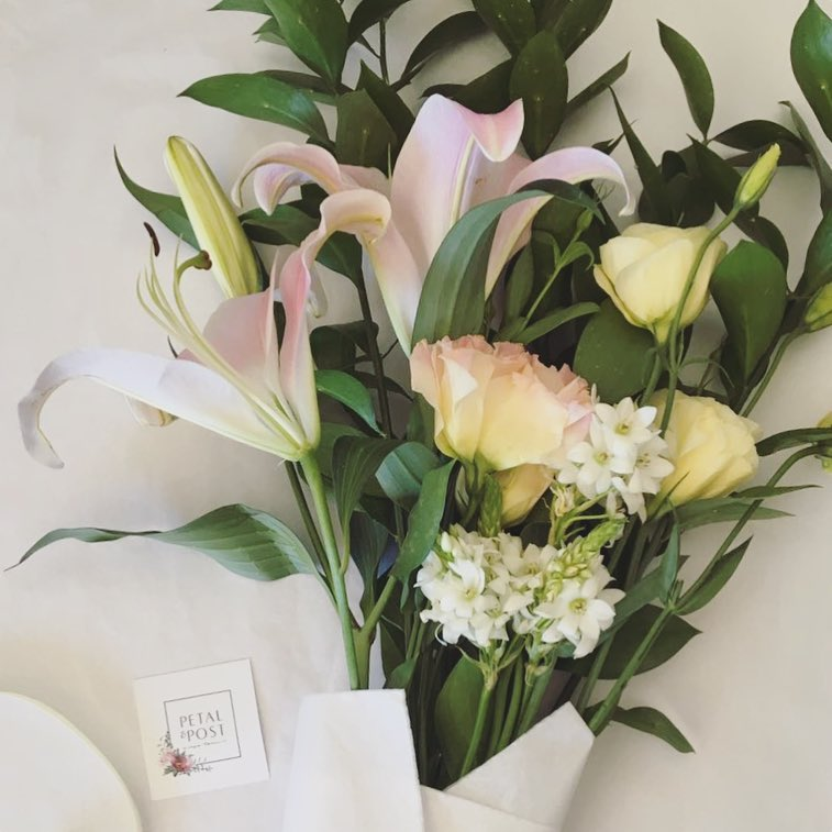 Today's pretty pastel Posy includes gorgeous oriental lilies, lisianthus, chincerinchee and ruscus ?