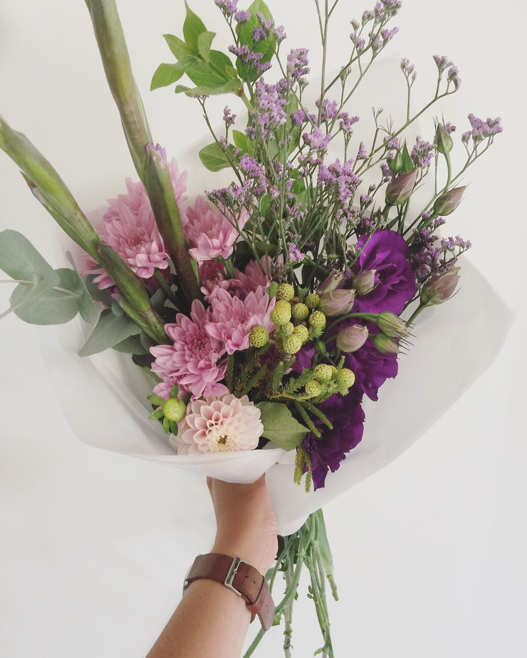 Today's Posy is violet gladiolus with fynbos, lilac sprays, lisianthus, limo, Verbernam and penny gum. Order before 12:30p for Delivery today.