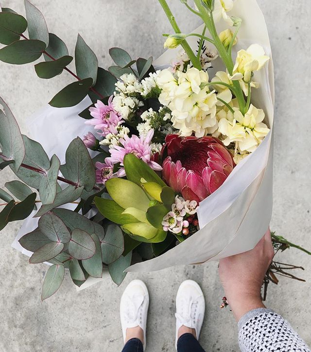 Today's Posy is Venus proteas with fragrant stocks (everyone knows that these are my fave),lucadendron, sprays, wax and gum. Order online before 12:30pm for delivery today. . .