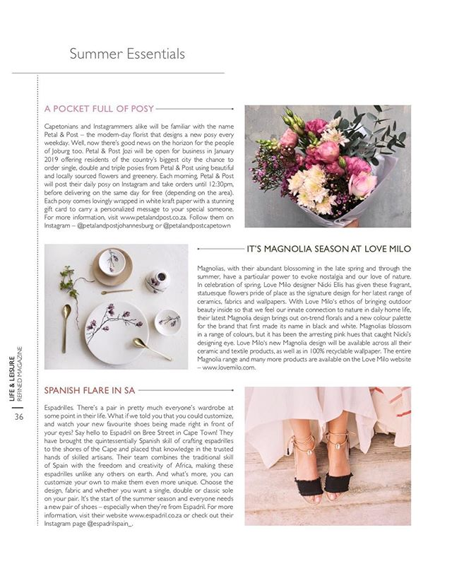 Joburg folk, find us in in the Summer edition of Refined Magazine @tcbmedia . . . . #Petalandpost#capetown#capetownflorist#lovezabuyza#localzadesign#lovelocalza#hellopretty#capetownmag#cylcollective #capetownlikes#supportlocal#posylove#wedding#local#botanical#theprettyblog#gardenday#capetowninfo#handmadeincapetown#madeinsouthafrica#lokalza#durbanville#proudlysouthafrican